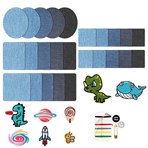 FORMIZON Patches Zum Aufbügeln, 34 Stück 5 Farben Denim Baumwolle Patches, Patches Bügeleisen Reparatursatz, Flicken Zum Aufbügeln Jeans Denim Aufbügelflicken für Jeans, DIY Taschen mit Nähzeug