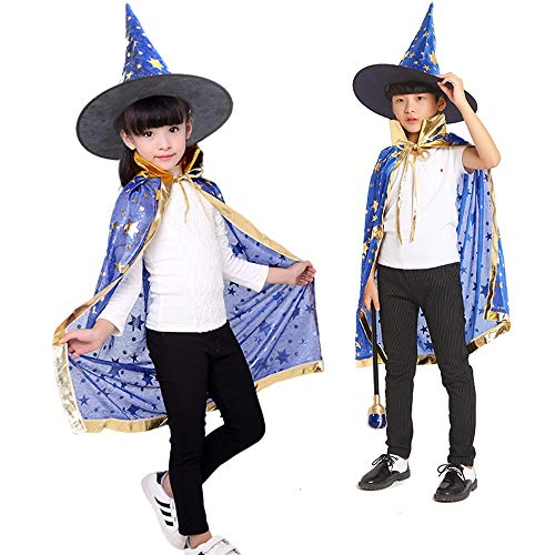 MEILA Halloween Kostüm Kinder Mädchen Männliche Maske Halloween Requisiten Mantel Urlaub Dekoration Show Kostüme Yao Orange Magic Hat + Mantel (Color : Blue)
