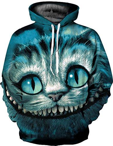 KamiraCoco Herren Pullover Slim Fit Kapuzenpullover 3D Druck Hoodie Weihnachten Langram Sweatshirt Kapuzenjacke (Großer und Katzen, L / XL) (Selbst Cap Pullover)
