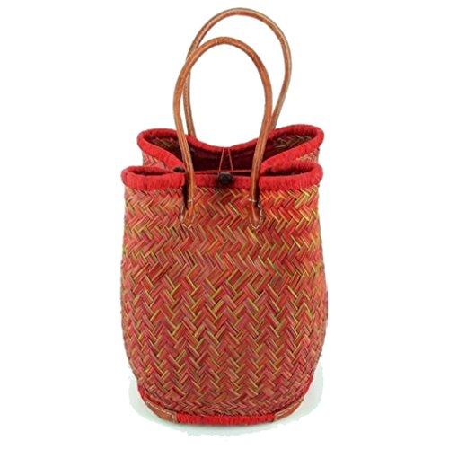 Rot Korb Geflochtenem Leder (Leichter Einkaufskorb/Korbtasche | Handarbeit | Fair Trade (Rot))