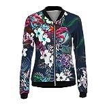 Damen Floral Jacke Frauen Mädchen Blouson Übergangsjacke mit Blumen Blüten MYMYG Bikerjacke Fliegerjacke Kurzjacke Sportwear Blumendruck mit Stehkragen Reißverschluss (A3-Dunkelblau,EU:40/CN-XL)