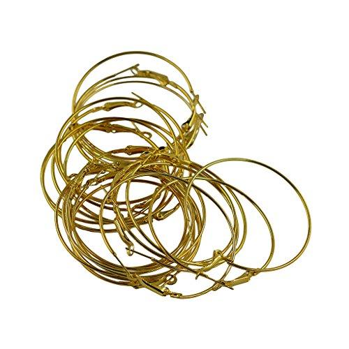 MagiDeal 20 Stück 50mm Ohrringe Verschlüsse Ohrdraht Ohrringe- Schmuck Basteln - Gold (Reize Großhandel Schmuck)