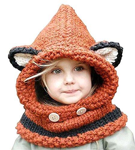 Niedlich Winter-Warme Coif Haube Schal Haube Hüte Hütte Earflap Fox Gestrickte Für Baby Kinder Mädchen Jungen