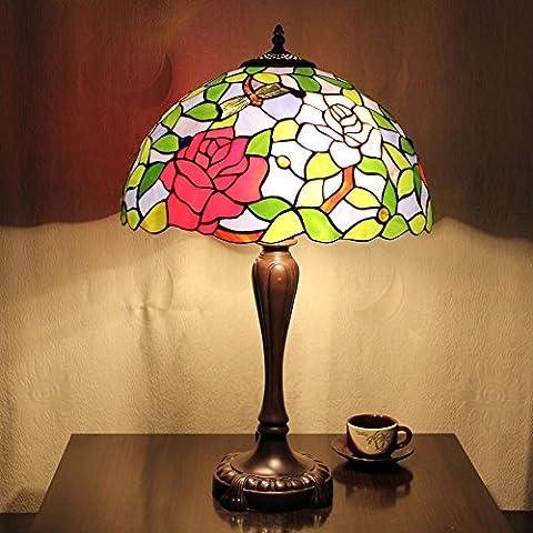 16 Zoll-Blume Libelle Vintage-Pastoral Luxus Europäische Tiffany Tischlampe Schreibtischlampe Nachttischlampe