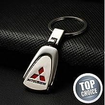 Mitsubishi pearshaped Deluxe Logo Llavero con caja de acero inoxidable