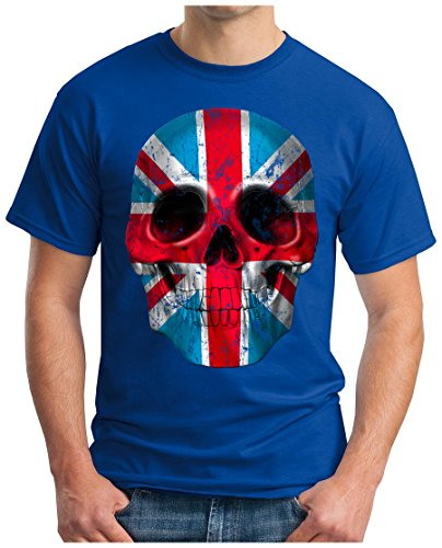 OM3 - UNION-JACK-SKULL - T-Shirt, S - 5XL Royalblau