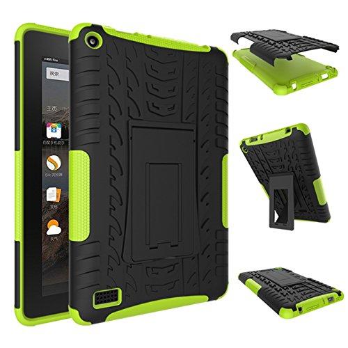 Fire 7 2015 Hülle,AyiHuan Dual Layer Hybrid Rugged Heavy Duty Hard Hülle Schutzhülle mit Kickstand Schutz für Amazon Fire 7 Zoll (5. Generation - 2015 Modell) Tablet,grün