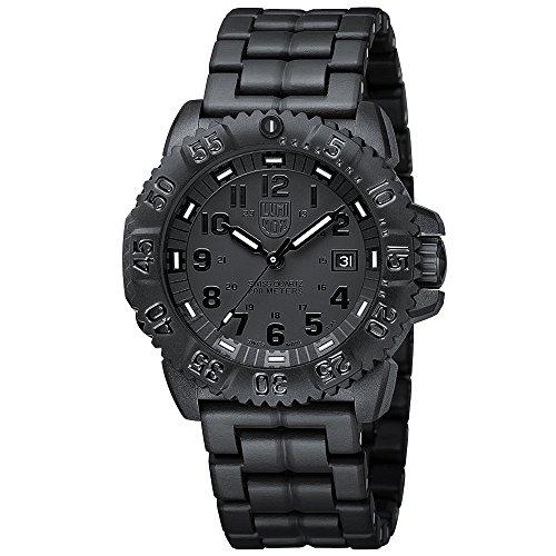Luminox Navy SEAL Colormark Men's Quartz watch with Black dial featuring LLT Luminox light Technology 44 millimeters Carbon Compound case and Black PU Bracelet XS.3052.BO