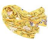 Prettystern - 180cm Langer Chinesische Malerei Pinsel Freihand Zeichnung Kunstdrucke Seidenschal - Vögel Bambus Blumen Golden Z03