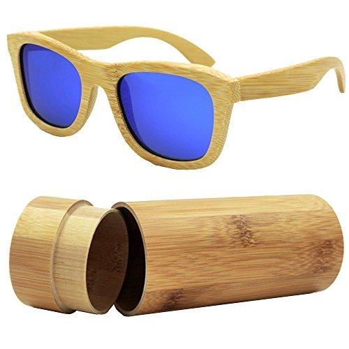 iSunHot 1-Pack Gafas de sol de Madera de Bambú con Azul Lente Polarizada de Protección UV en Vintage Wayfarer Style - Auténtico Marco Natural para Hombres/Mujeres Anteojos Hechos a Mano en la Playa