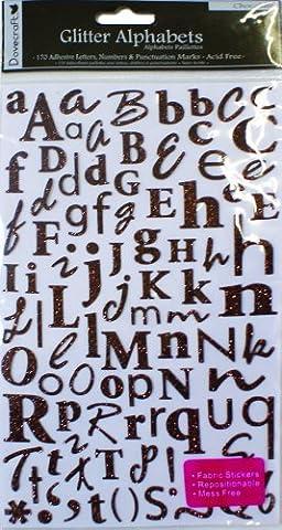 Dovecraft Autocollants Alphabet Pailletés Chocolat
