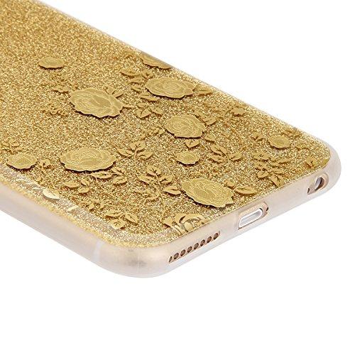 iPhone 6S Hülle,iPhone 6 Hülle,ikasus® iPhone 6 / 6S Silikon Hülle [Kristallklar Durchsichtig],Bling Funkeln Glänzend Glitzer Überzug Muster Stoßdämpfend Transparent TPU Silikon Schutz Handy Hülle Cas Golden Rose Blumen