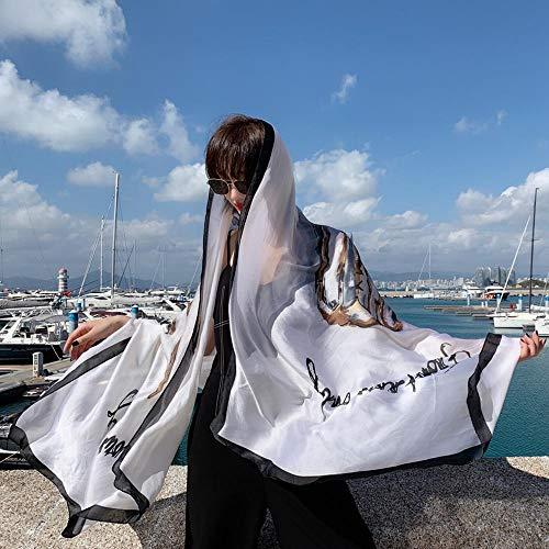 Sfqhc Schal Für Damen Sommer Schal weibliche Sonnencreme Seidenschal dünne Küste super große Strandtuch Schal Stil 21 -