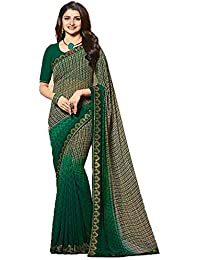 888adbde6f Rudra Fashion Women's banglory Georgtte Saree With Unstitched with Blouse  Piece