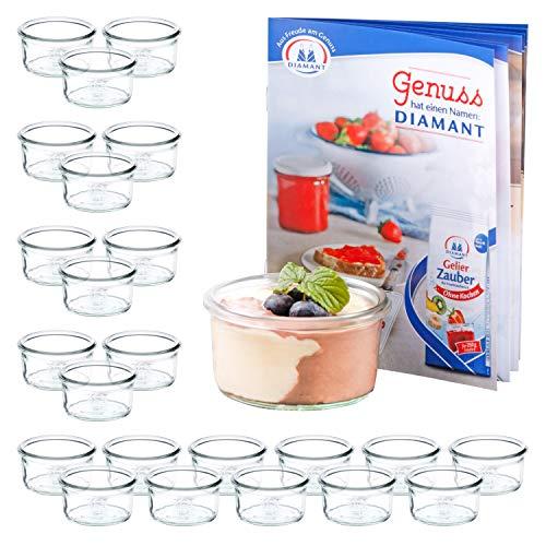 MamboCat 24er Set WECK Mini-Sturzgläser 165 ml + Rezeptheft | Pasteten-Gläschen Klar | Ø 8.8 cm | Lebensmittel einkochen, aufbewahren & konservieren | Einweck-Zubehör -