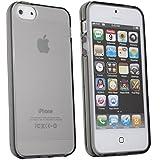 Coque2mobile® TPU Silicone Housse Coque Etui Gel Case Cover pour Apple iPhone 5 / 5s Noir fumée Noir