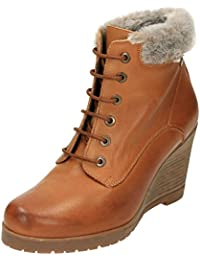 4af94a5e005 Carmela Leather Wedge Heeled Lace Up Ankle Boots Tan