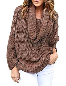 La Mujer Casual Solid Cuello Alto Cuello Loose Knit Shirt Top Sweater Montones
