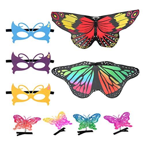 YANSHON Bauchtanz Schmetterlingsflügel Butterfly Wings mit Stöcken oder elastische Fingerringe Faschingskostüme für Jungen /Mädchen Karneval