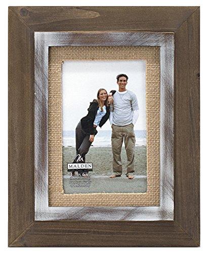 Malden International Designs in rustikaler Holz Fashion Zwei Ton Zeder Bild Rahmen mit Jute Matte Bilderrahmen, 4x 6, braun