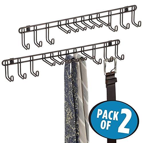 mDesign Juego de 2 percheros de pared – Corbatero para cinturones y corbatas – Prácticos ganchos para colgar pañuelos, bolsos y accesorios – bronce