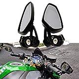 Moto Rétroviseurs Latéraux 7/8'22mm Alliage d'Aluminium Guidon Rétroviseurs pour vélo de Sport Scooter Cruiser(Noir)