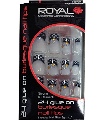 Royal 24 Glue On Burlesque Nail Tips Black With White Spots U0026 Gem Detail