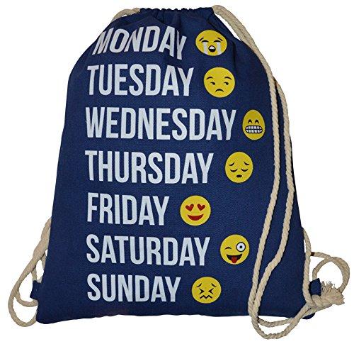 Imagen de turn bolsa  bolsa con cordón emoticons emoji patrón smileys bolsa de deporte bolsa de deporte bordar smiley emoticon aufdruck hipster saco, azul