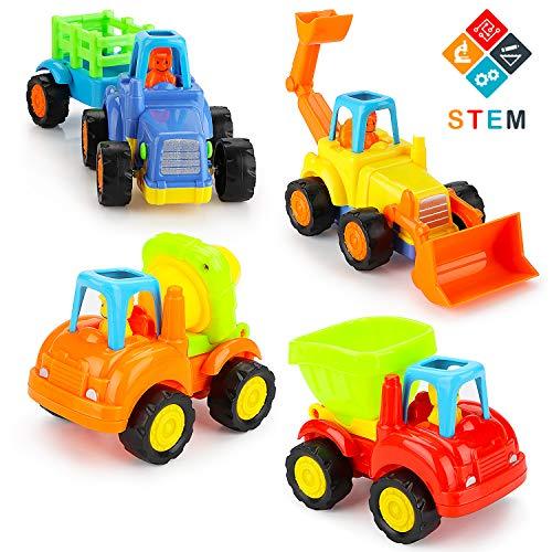 Fansteck Push and Go Spielzeugautos für Kinder ab 3 Jahre, 4er LKWs Reibungsbetriebener Baufahrzeug Set: Bulldozer, Traktor, Kipper, Zementmischmaschine für Kleinkinder