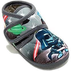 Vulcabicha 1079 - Zapatillas con Velcro de Star Wars - Gris, 20