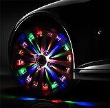 BMDHA Autoreifen Licht Solar Automatische Aufladung Bunte Blinklichter Auto Beleuchtung (4 Stück)