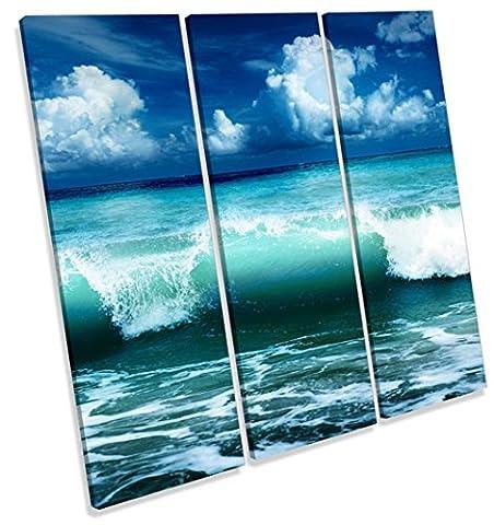 Blue Ocean Wave Beach Treble Leinwand Wand Art Print Bild, blau, 60cm wide x 60cm high
