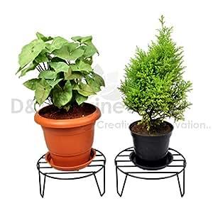 D&V ENGINEERING Round Iron Home Garden Indoor Balcony Decor Floor Flower Plant Stand Pot Rack (11inch, Black) - Set of 2