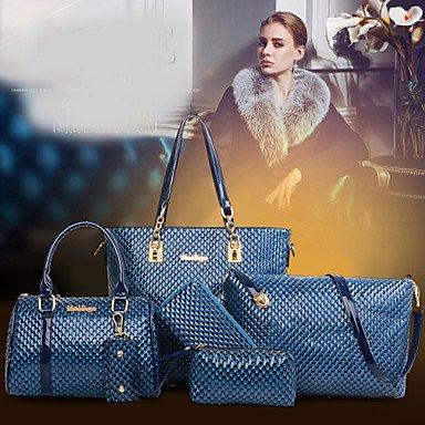 La donna pu formale / Casual / Ufficio & Carriera / Shopping Borsa a tracolla / Tote Bag / Imposta blu / giallo / Marrone / rosso / nero,Fuchsia Fuchsia