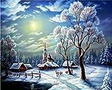 baodanla No Frame Primavera ed Estate Pittura Digitale Paesaggio di Neve Paesaggio Pittura acrilica Pittura Moderna Soggiorno Decorazione della casa 40x60cm