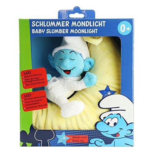 ANSMANN LED-Mondnachtlicht Schlumpf / Niedliche Einschlafhilfe zum Kuscheln mit Schlummerliedfunktion & sanftem Licht für ruhigen Tiefschlaf / Kuschelweiches 2-in-1 Plüschtier für Babys & Kleinkinder - 12