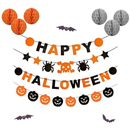 Halloween Dekoration, Glückliche Halloween Girlande Spinne Schädel Banner Kürbis Pull Blume Orange Graue Farbe Wabenbälle für Halloween ()