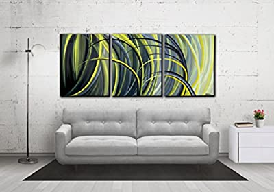 "48"" LARGE, Original ABSTRACT PAINTING, canvas, Wall Art, Modern, Contemporary, Black, White, Yellow"