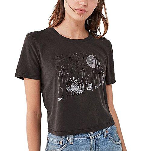 Tumblr t shirt donna estate moda casual elegante stampa nera magliette top (nero, large)