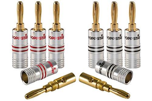 Poppstar 8X High End Bananenstecker, Bananas für Lautsprecherkabel (bis 6 mm²), Lautsprecher, AV Receiver, 24k vergoldete Kontakte (4X schwarz, 4X rot)