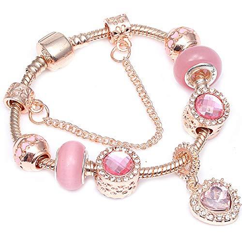 df2ab9d94386 GSYDSZ Estilo Rose Gold Crystal Beads Charm Bracelet For Women Fit Original  DIY Fine Pulsera Regalo