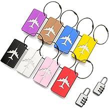 ATA® Travel Bag Etiquetas de equipaje - (8 Pack) ID Etiquetas de dirección para bolsos de la maleta - Etiquetas fuertes de aluminio con cables de bloqueo - Plus x2 Candados de combinación