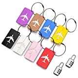 Travel Holiday Luggage Baggage Tags (8 Pack) ID Address Labels for Suitcase Handbags - Strong Aluminium Tags with Locking Cables - Plus x2 Combination Travel Lock
