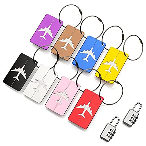 Travel Holiday Luggage Baggage Tags by ATA® – (8 Pack) ID Address Labels for Suitcase Handbags - Strong Aluminium Tags with locking cables in Bright Colours - Plus x 2 Combination