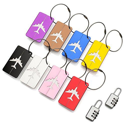Reise Urlaub Gepäckanhänger Kofferanhänger ATA® – Namens- und Adressschild für Koffer und Handgepäck aus Metall – Set mit 8 Stück – robuste Aluminiumanhänger Plus x2 Vorhängeschlösser (Leder-gepäck-set 2 Stück)