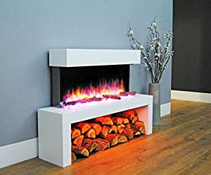Endeavour Fires and Fireplaces Wykeham Electric Fire, 220/240Vac, 50 Hz, 1&2kW, 7 day Programmable Remote Control with an off white MDF Mantel and Floor Standing Base Plinth