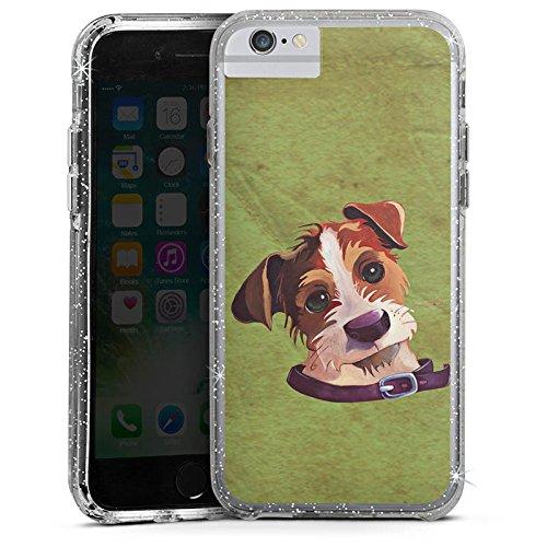 Apple iPhone 7 Plus Bumper Hülle Bumper Case Glitzer Hülle Jack Russell Hund Chien Bumper Case Glitzer silber