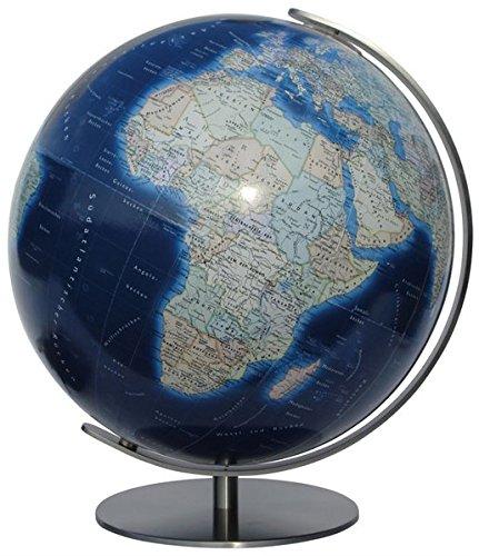 COLUMBUS DUO AZZURO: 34 cm Durchmesser, OID-Code, Meridian und Fuß Metall, Edelstahl, matt - Antik-nacht-licht