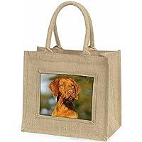 Hungarian Vizsla Wirehaired Dog Large Natural Jute Shopping Bag Christmas Gift I