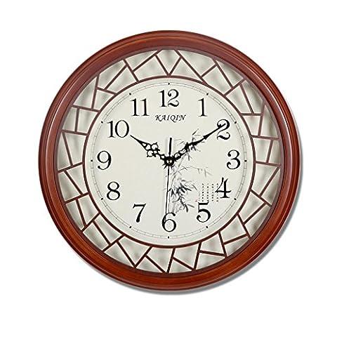 SESO UK- Design Round Vintage Retro Wall Clock salon en bois Pendentif Quartz ( taille : S:32cm )